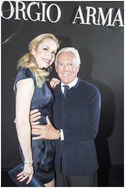 Elna-Margret with friend and designer Giorgio Armani at one of his fashion shows