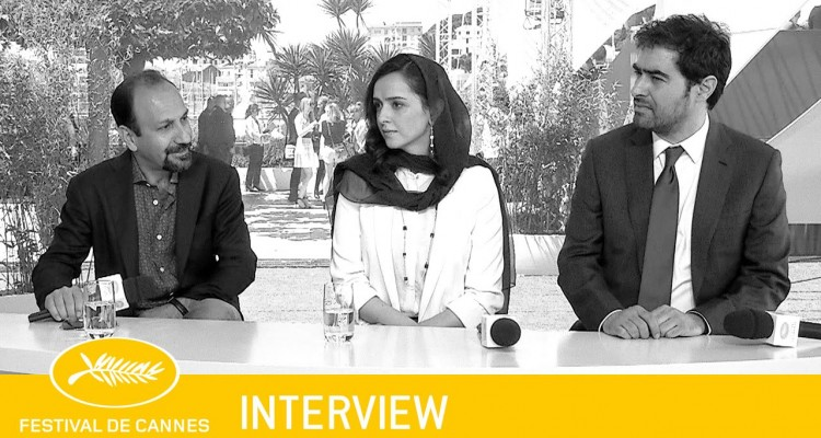 Asghar Farhadi and his lead actors, Taraneh Alidousti and Shaba Hossein, at the official press conference.