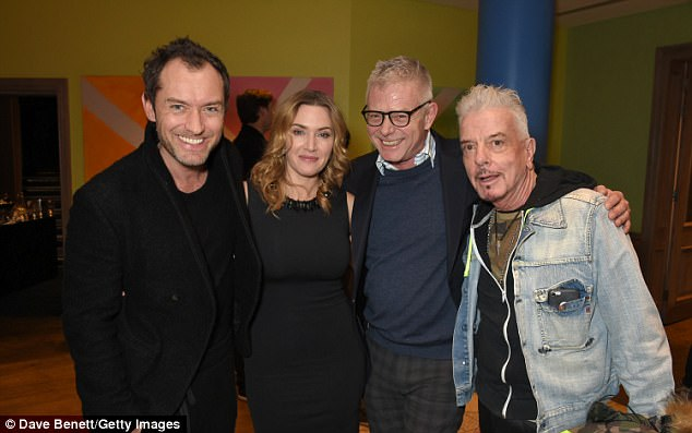 Kate and Jude, who appeared together in 2006 festive favourite The Holiday pose together at the screening alongside host Stephen Daldry and interior designerNicky Haslam at the screening of the film which stars Kate as a women who is slowly unravelled by a forbidden romance